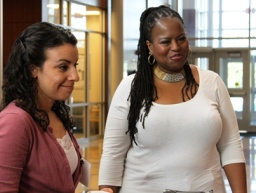 2012 diversity fellows Christina Rosales and Helaine Williams hard at work during the annual conference.