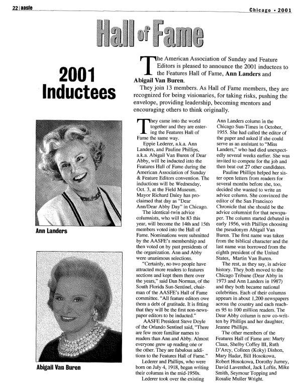 Farewell to Dear Abby, an AASFE Hall of Fame inductee