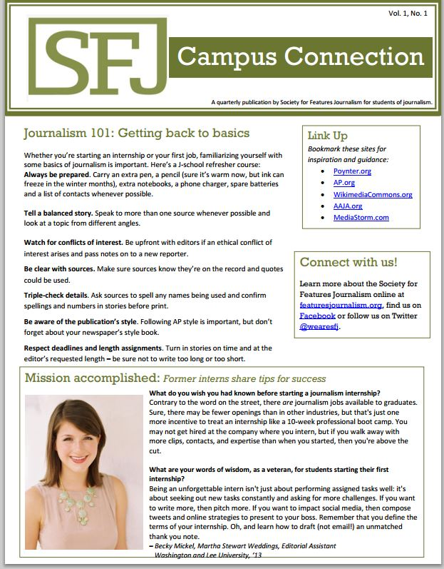 sfj debuts new quarterly newsletter for journalism students