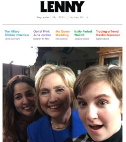The lead page of Lenny, a new newsletter by actress Lena Dunham.